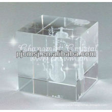 2015 Wholesale customized Antique Crystal Cube with 3D laser engraved Violin For Musician Gifts