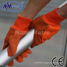NMSAFETY cotton hand drilling glove with black pvc dotted on palm gloves