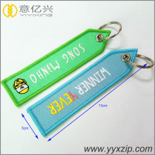 custom design double sided logo embroidered keyring
