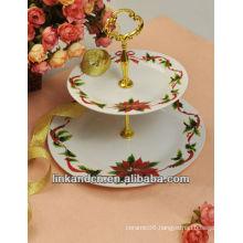 KC-00365/12 ceramic pizza plate/double-deck plate set