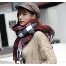 écharpe en cachemire à carreaux en cachemire chaud d'hiver