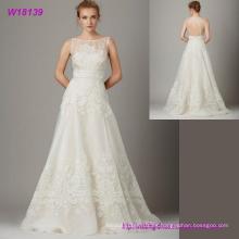 El último vestido de novia sin mangas del diseño Nuevo vestido de boda atractivo del cordón del estilo