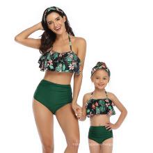 Hot Style Baby Swimwear Printed High-Waisted Bikini Flounces Mother and Daughter Swimwear Manufacturers Wholesale Spot