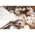 AKWD-07 encantadora encaje totalmente Appliqued vestidos de boda con tren de Tulle Baeded vestidos de novia atractivos Backless