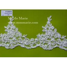China atacado Borda bordada de renda / bordado floral moldura de renda nupcial para vestido de noiva