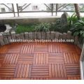 Straight Patterns with 6 Slats of Acacia Deck Tiles - Waterproof Outdoor Decking