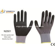 Nylon Spandex Shell Nitrile Coated Saftey Work Gloves (N2501)