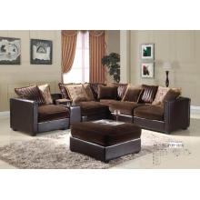 Sofá clásico en forma de L con cojín y sofá de cuero y tela Living Room