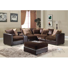 Living Room Leather and Fabric Dirt Resistant Classic L Shaped Sofa with Cushion