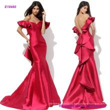 Популярные сексуальная с плеча Русалка платье с оборками на рукавах и спине