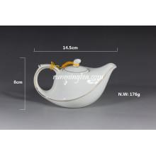 Pot de thé volant en porcelaine blanche 220ml avec ligne dorée