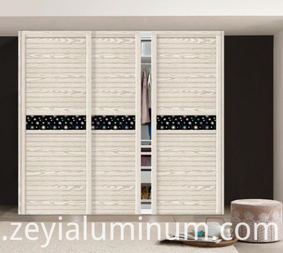 White wood grain wardrob door aluminum profile