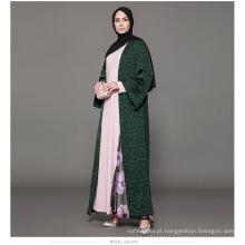 Proprietário Designer fabricante mulheres Dubai personalizado Kimono marca oem rótulo moda frente azul marinho frente aberta abaya