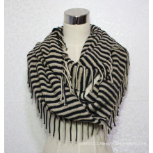 Woman Fashion Acrylic Knitted Striped Infinity Fringe Scarf (YKY4391)