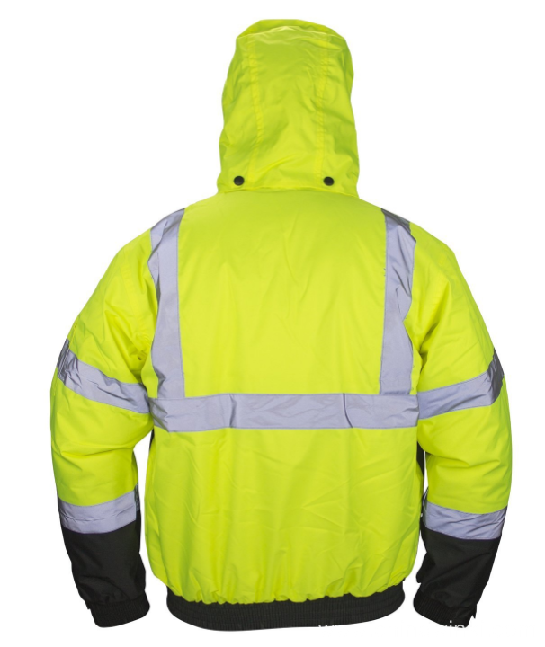Hi Viz Class 3 Hooded Bomber Safety Jacket