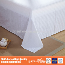 2016 luxury fashional design 100% cotton stripe satin twin size flat hotel bedding sets