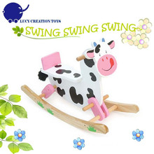 Classic Ride on Animals Toy Cow Baby Rocking Horse