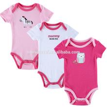 Großhandel bestickt Mädchen Kleidung Bio-Baumwolle Baby Overall-Strampler Set Mädchen Strampler