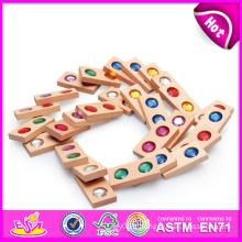 2014 nouveau jouet en bois de domino en bois, jouet éducatif en bois de domino d'enfants bon marché, jouet en bois de jeu de domino en bois de haute qualité W15A006