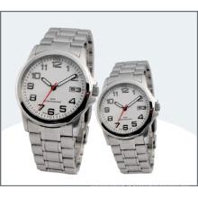 Aço Inoxidável Lover Watch, Quartz Couple Relógios (15169)
