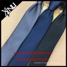 Cravate noire en soie unie en polyester uni