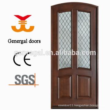 CE painting exterior decorative glass big solid wooden door