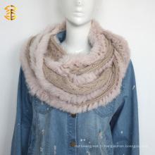 Echarpe à capuche femme haute qualité Chapeau en laine tricotée avec fourrure réelle