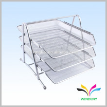 Office Suppiles silver metal 3 layer mesh paper file holder tray