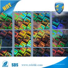 Impressão de etiquetas de holograma de número de série 3d