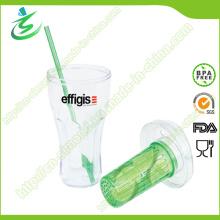 20 Unze Einwandige Kunststoff-Stroh-Schale mit Infuser (IB-A4)