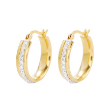 E-595 fashion 24K gold color Rhinestone Stainless Steel simple Women's Hoop  Earrings