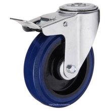 Bolt Hole Tipo de freio Blue Rubber Industrial Caster (KXX7-D)