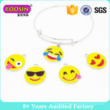 Hotsale Emoji Adjustable Wire Bangle, Fashion Jewellery Alloy Charm Bracelet #B141
