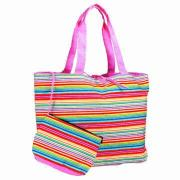 Striped Tote with Accessory Bag, Assorted Colors Only