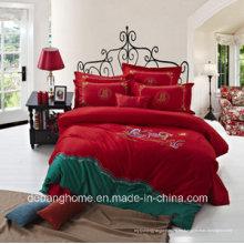 Súper alta calidad llanura teñida China 100% algodón juegos de cama