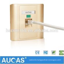 Aucas Wall Mount Plate RJ45 Data Cabling Keystone Jack Faceplates Cat5e Cat6 Face Plate Golden Color