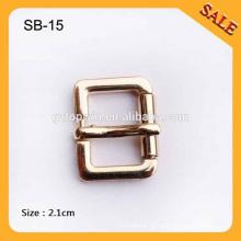SB15 Custom Gold cor lisa fivela saco de pino, fivela de metal para bolsas
