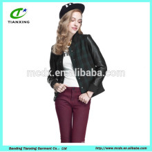 pu sleeves motorcycle ladies wool jacket