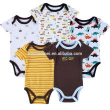 Venta caliente suave cuello redondo de algodón orgánico 5 piezas raya onesie amarillo azul oscuro llano blanco estampado de dibujos animados del bebé mameluco