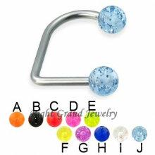 Boule acrylique de glitter de fantaisie de couleur mélangée piercing sur l'anneau de lèvre