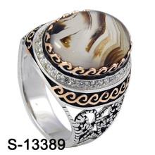 925 Серебряные украшения Циркония Мужчины Кольца с натуральным агатом.