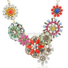 Colorful Circle Inlay Round Marquise Beads Flower Elegant Necklace