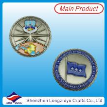Azul, pintura, enchido, moeda, 3D, bandeira, antigüidade, níquel, moeda, (lzy1300052)