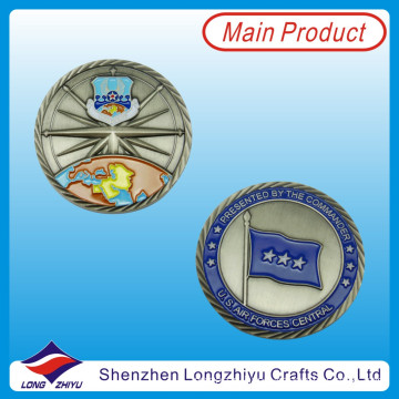 Blue Paint Filled Coin 3D Flag Antique Nickle Coin (LZY1300052)