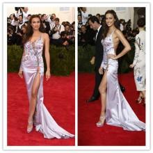 MGC11 Fashion Met Gala 2015 Irina Shayk Seite Splits gestickten Open Back Celebrity Abendkleider