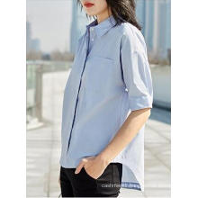 Light Blue Short Sleeve Round Neck Simple Ladies Shirt