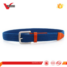 Mens elastic silver buckle braided stretch belt