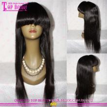 7 a cheveux humains brésiliens vierge cuticule pleine couleur naturelle droite Front Lace perruque avec Bang