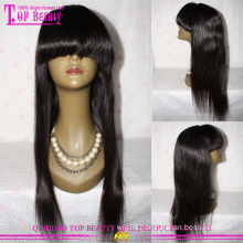 7A Virgin Brazilian Human Hair Full Cuticle Natural Color Straight Front Lace Wig With Bang