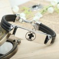 Zinc alloy religious christian cross metal bracelet with pu leather cord (I Trust In God)